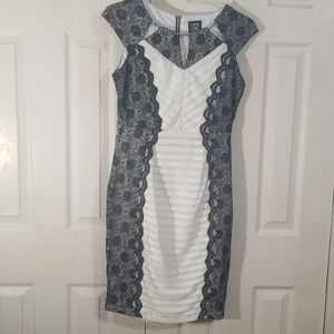 Jax Black and White Lace Dress